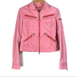 EXPRESS jean jacket Medium pink moto biker o708